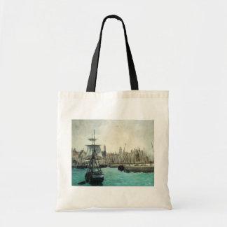 Port at Calais by Manet, Vintage Impressionism Art Tote Bag