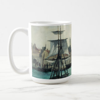 Port at Calais by Manet, Vintage Impressionism Classic White Coffee Mug