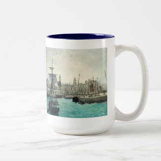 Port at Calais by Manet, Vintage Impressionism Two-Tone Coffee Mug
