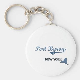Port Byron New York City Classic Basic Round Button Keychain