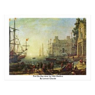 Port De Mer Avec La Villa Médicis Postcard