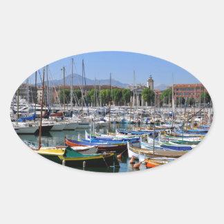 Port de Nice in France Oval Sticker