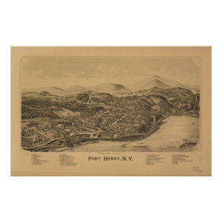 Port Henry New York 1889 Antique Panoramic Map Poster