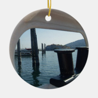Port Hole View Of Isola Bella From Lago Maggiore Double-Sided Ceramic Round Christmas Ornament