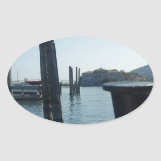 Port Hole View Of Isola Bella From Lago Maggiore Oval Sticker