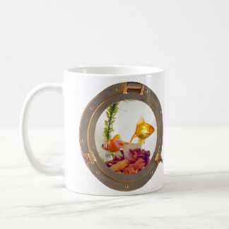 port hole with gold fish coffee mug