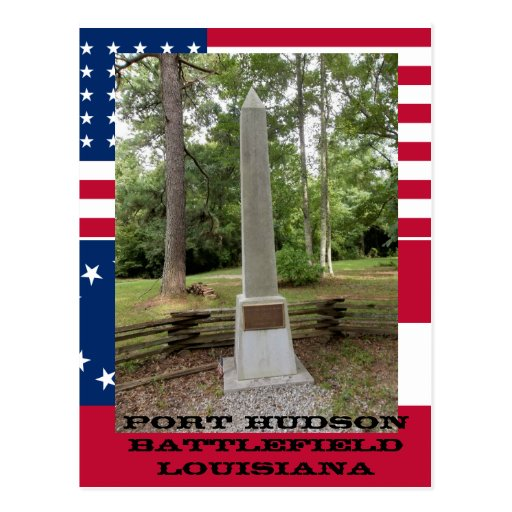 Port Hudson Monument With Flags Postcard