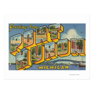 Port Huron, Michigan - Large Letter Scenes 2 Postcard