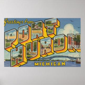 Port Huron, Michigan - Large Letter Scenes 2 Poster