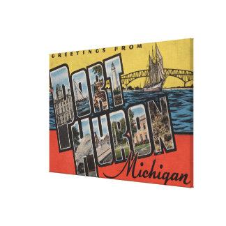 Port Huron, Michigan - Large Letter Scenes Canvas Print