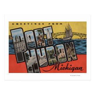 Port Huron, Michigan - Large Letter Scenes Postcard
