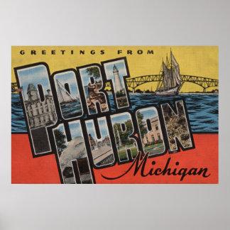 Port Huron, Michigan - Large Letter Scenes Poster