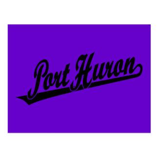 Port Huron script logo in black Postcard