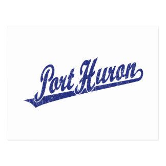 Port Huron script logo in blue distressed Postcard