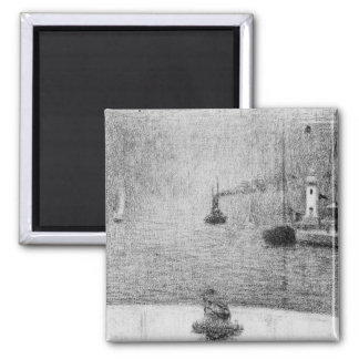 Port in Honfleur by Georges Seurat 2 Inch Square Magnet