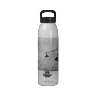 Port in Honfleur by Georges Seurat Water Bottle