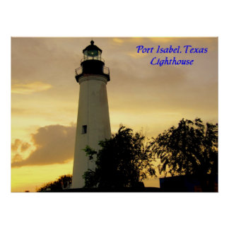 Port Isabel lighthouse at sunset poster