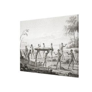 Port Jackson, New Holland: Aboriginal burial cerem Canvas Print