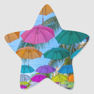 port louis le caudan waterfront umbrellas cap star sticker