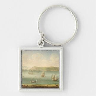 Port Mahon, Minorca, 1730's (oil on canvas) Silver-Colored Square Keychain