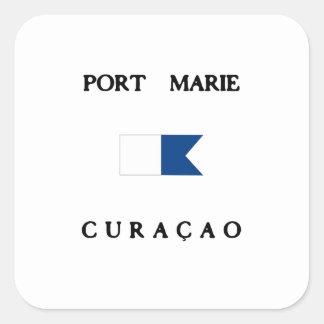 Port Marie Curacao Alpha Dive Flag Square Sticker