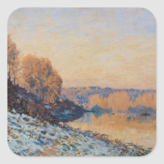 Port-Marly, White Frost, 1872 Square Sticker