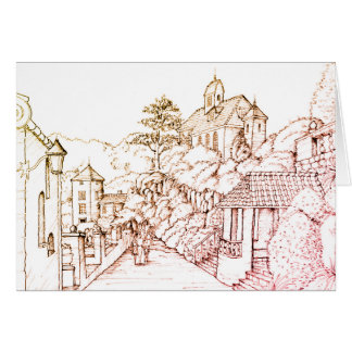 Port Meirion North Wales Pen Sketch Card