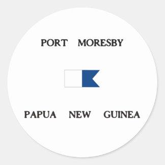 Port Moresby Papua New Guinea Alpha Dive Flag Classic Round Sticker