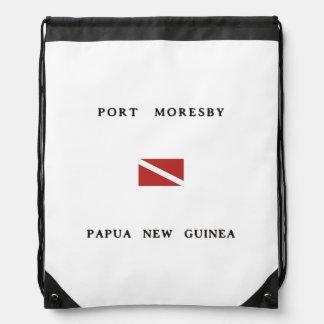 Port Moresby Papua New Guinea Scuba Dive Flag Drawstring Bag