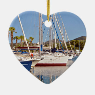 Port of Argelès-sur-Mer in France Double-Sided Heart Ceramic Christmas Ornament