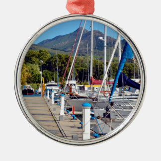 Port of Argelès-sur-Mer in France Round Metal Christmas Ornament