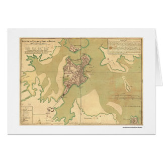 Port of Boston Massachusetts Map 1764 Greeting Card