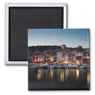 Port of Cassis at night 2 Inch Square Magnet