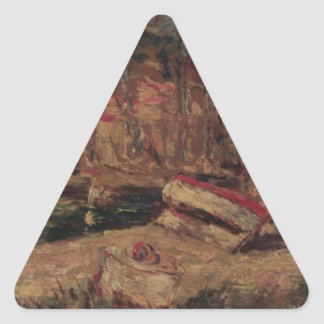 Port of Cassis by Adolphe Joseph Thomas Monticelli Triangle Sticker