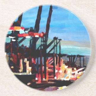 Port Of Hamburg With Container Ships Beverage Coaster