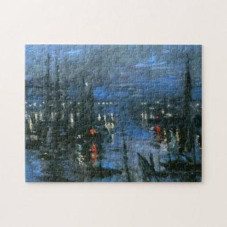 Port of Le Havre, Night Effect Monet Fine Art Jigsaw Puzzle
