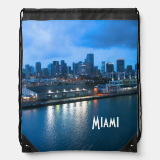 Port of Miami photo Drawstring Backpack