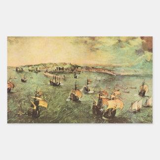 Port of Naples by Pieter Bruegel Rectangle Stickers