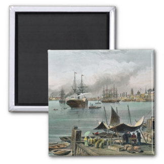 Port of New Orleans, engraved by D.G. Thompson 2 Inch Square Magnet