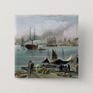 Port of New Orleans, engraved by D.G. Thompson Pinback Button