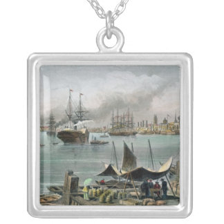 Port of New Orleans, engraved by D.G. Thompson Silver Plated Necklace