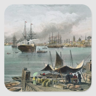 Port of New Orleans, engraved by D.G. Thompson Square Sticker