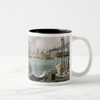 Port of New Orleans, engraved by D.G. Thompson Two-Tone Coffee Mug