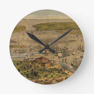 Port of New York by Currier & Ives in 1878 Clocks