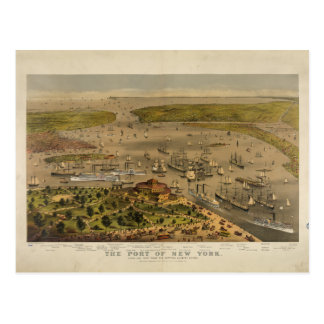 Port of New York by Currier & Ives in 1878 Post Card