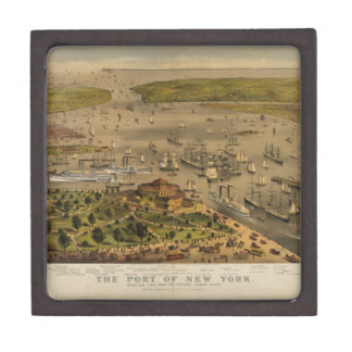 Port of New York by Currier & Ives in 1878 Premium Keepsake Boxes