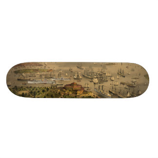Port of New York by Currier & Ives in 1878 Skateboard Deck