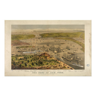 Port of New York by Currier & Ives in 1878 Stationery