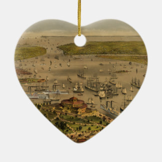 Port of New York by Ives in 1878 Ceramic Ornament