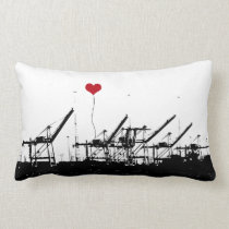 Port of Oakland Shipping Cranes Pillow